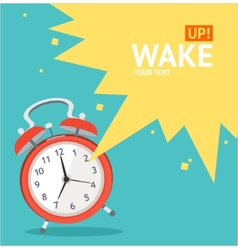 red wakeup clock card Flat Design vector image