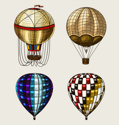 retro hot air balloons flying airships vector image