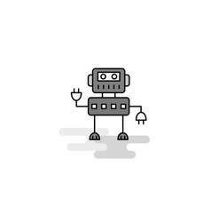 robotics web icon flat line filled gray icon vector image