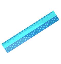 Ruler for maths lessons school supplies closeup vector