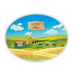 Rural landscape in frame a graphic design vector