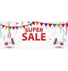 Sale banner design with megaphone confetti and ri vector