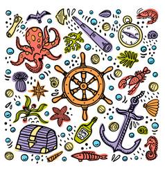 sea adventures card marine hand drawn vector image