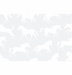 seamless pattern with white horses silhouettes vector image