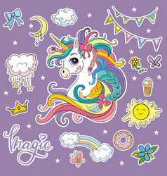 Set fancy cartoon unicorn vector
