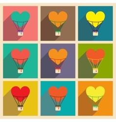 Set flat web icons with long shadow air balloon vector