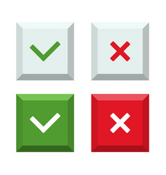 set of buttons of cross and check mark vector image