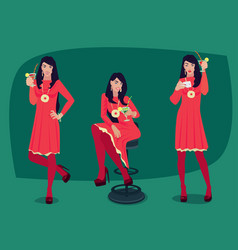 set of girl with cocktail in different poses vector image