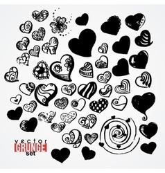 Set of ink hearts Blots Grunge Vortex vector