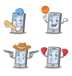 Set of iphone character with baseball cowboy vector