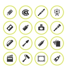 Set round icons of art vector image