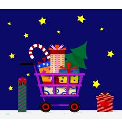 Shopping trolley full of gifts vector