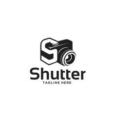 shutter camera silhouette logo vector image