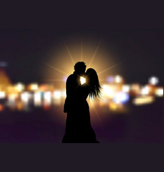 silhouette of a loving couple on bokeh lights vector image