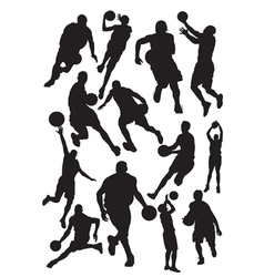 silhouettes basketball vector image