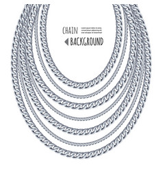 silver chains necklace abstract background vector image
