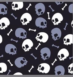 skull bones halloween pattern bckg dark vector image