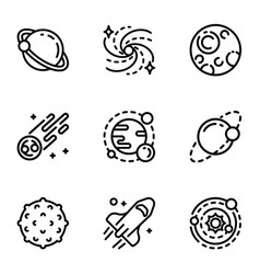 solar system icon set outline style vector image