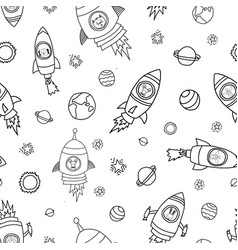 space animals seamless background vector image