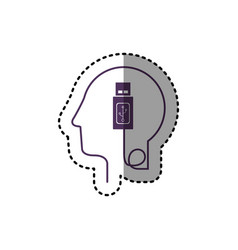Sticker silhouette profile human head with usb vector