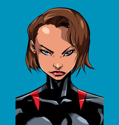 superheroine portrait line art 2 vector image