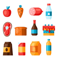 Supermarket food departments icons vector