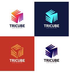 tech cube logo design template hexagon logotype vector image