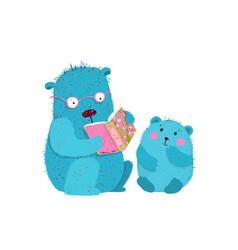 Teddy bear dad teaching bear cub reading doing vector