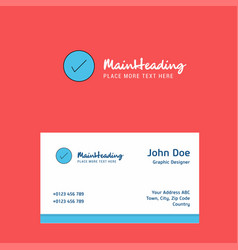 tick logo design with business card template vector image