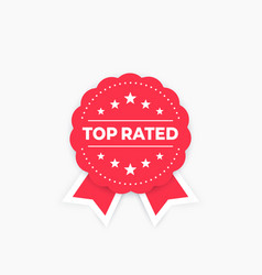 Top rated badge red on white vector