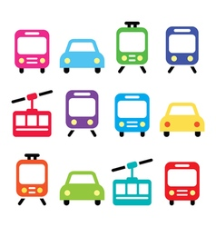 Transport travel icons set isolated vector