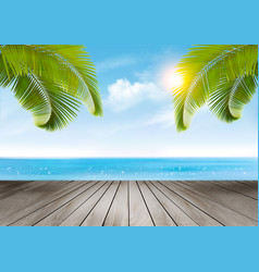 Vacation background beach with palm trees and vector