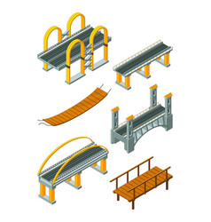 Viaduct bridge isometric wood support crossing vector