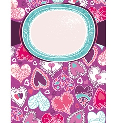 Violet valentine background with color hearts vector