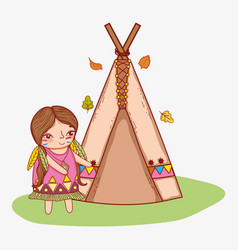 Woman indigenous with camping tent and leaves vector