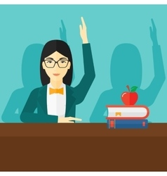 Woman raising her hand vector image