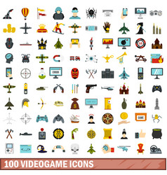 100 videogame icons set flat style vector image