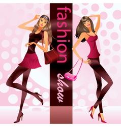 Fashion models represent new clothes at show vector image