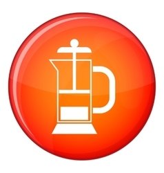 French press coffee maker icon flat style vector