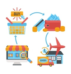 Online internet website shopping icons set vector image vector image