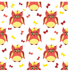 red and yellow owls with bows vector image vector image