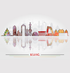 beijing city silhouette with city silhouette vector image vector image