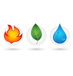fire drop and green leaf vector image vector image