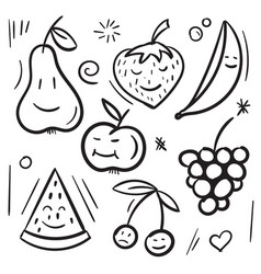 fruits and berries pear apple banana cherry vector image