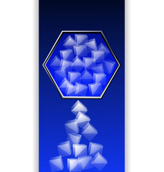 Hexagon border with ice cubes over dark blue panel vector