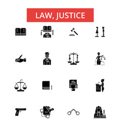 law justice thin line icons linear vector image