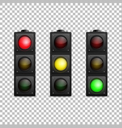 realistic traffic light set isolated led vector image vector image