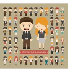 Set of 50 business men and women vector image