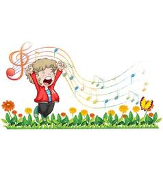 A boy singing at the garden vector image