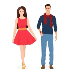 Beautiful young couple together Cartoon students vector image vector image